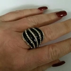 LIA SOPHIA CRYSTAL & BLACK ENAMEL RING